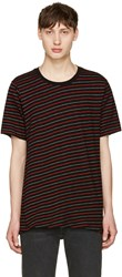 Rag And Bone Black Red Stripe T Shirt