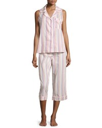 Bedhead Cabana Striped Cropped Pajama Set Coral Stripe