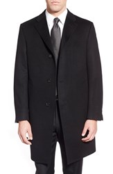 Hickey Freeman Men's Big And Tall Classic Fit Cashmere Topcoat Black