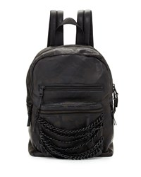 Ash Domino Chain Small Leather Backpack Black Camo