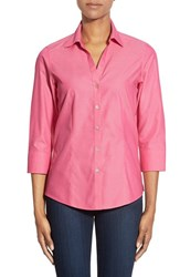 Petite Women's Foxcroft Three Quarter Sleeve Non Iron Cotton Shirt Cherry Blossom