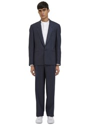 E.Tautz Cable Striped Two Piece Suit Navy