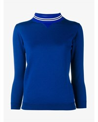 Golden Goose Merino Wool Sporty Sweatshirt Blue White Golden