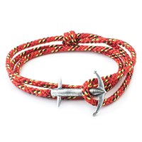 Anchor And Crew Admiral Rope And Silver Bracelet Solid Red