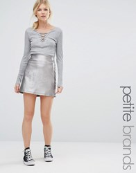 New Look Petite Metallic A Line Skirt Silver