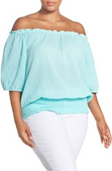 Plus Size Women's Michael Michael Kors Off The Shoulder Gauze Top Washed Turquoise