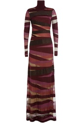 Emilio Pucci Turtleneck Maxi Dress With Virgin Wool Multicolor