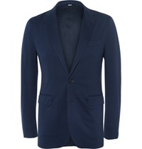 Burberry London Slim Fit Cotton Pique Blazer Navy