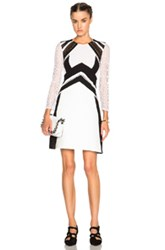 Burberry Prorsum Lace Insert Dress In Black White