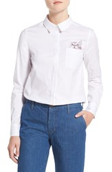 Women's Paul And Joe Sister Embroidered Cotton Poplin Shirt White