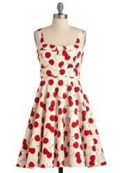 Pull Up A Cherry Dress In White Mod Retro Vintage Dresses Modcloth.Com