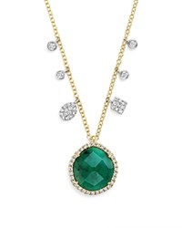 Meira T 14K Yellow Gold Emerald Pendant Necklace With Diamonds 16 Green White