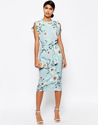 Asos Belted Midi Dress With Split Cap Sleeve In Occasion Floral Multi