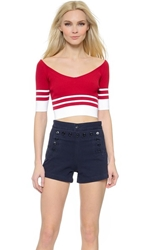 Red Valentino Ribbed V Neck Crop Top Ruby White