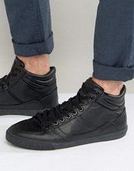 Pull And Bear Faux Leather Hi Top Sneakers In Black Black