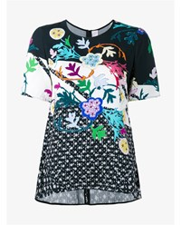 Peter Pilotto Floral Print Short Sleeve Top Black Multi Coloured Green Pink White Blue