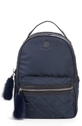 Moncler 'Georgette' Genuine Rabbit Trim Backpack Blue Navy