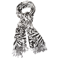 Chesca Abstract Animal Print Scarf Ivory Black
