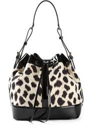 Giorgio Armani Animal Print Shoulder Bag Black