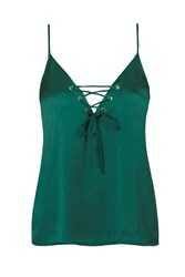 Don't Cross Me Satin Camisole Top By Wyldr Green