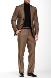 Kenneth Cole Taupe Sharkskin Two Button Notch Lapel Wool Suit Beige