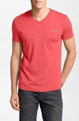 Men's Lacoste Pima Cotton Jersey V Neck T Shirt Fusion Pink
