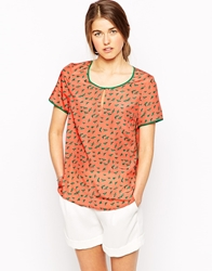 See U Soon Bird Print Top With Contrast Piping Orange