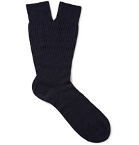 Pantherella Laburnum Ribbed Merino Wool Blend Socks Blue