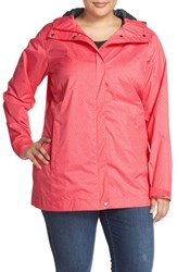 Columbia Plus Size Women's 'Splash A Little' Modern Classic Fit Waterproof Rain Jacket Bright Geranium Lace Print