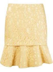 Martha Medeiros Ruffled Hem Lace Mini Skirt Yellow And Orange