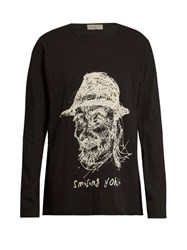 Yohji Yamamoto Smiling Long Sleeved Cotton Top Black