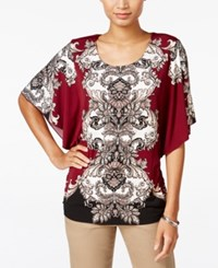 Jm Collection Printed Butterfly Sleeve Top Only At Macy's Merlot Boho Baroque