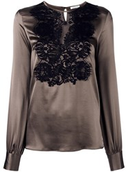 P.A.R.O.S.H. Lace Front Blouse Brown