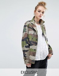 Reclaimed Vintage Military Jacket In Camo Print Camo Green