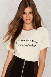 Nasty Gal Friend With Weed Ringer Tee Ivory