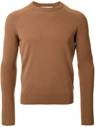 Ami Alexandre Mattiussi Ribbed Sleeve Jumper Brown