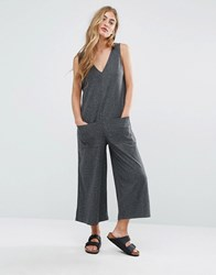 Pull And Bear Pullandbear Ribbed Oversized Jumpsuit Grey