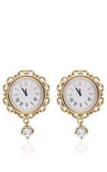 Dolce And Gabbana Clock Strikes Midnight Chandelier Earrings Gold