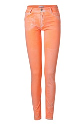 Faith Connexion Coral Coated High Waisted Jean Leggings Orange