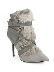 Charles Jourdan Knife Leather Suede And Rabbit Fur Ankle Boots Grey