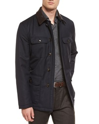 Ermenegildo Zegna Wool Safari Jacket With Leather Collar Navy