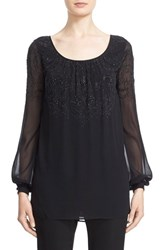 St. John Women's Collection Silk Georgette Scoop Neck Blouse Caviar