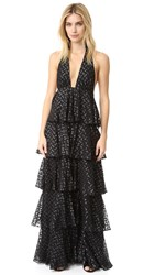 Jill Stuart Clipped Dots Ruffle Gown Black