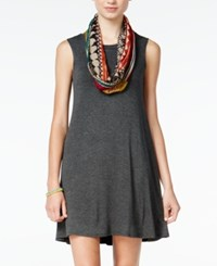 Amy Byer Bcx Juniors' Pullover Shift Dress With Printed Infinity Scarf Gray