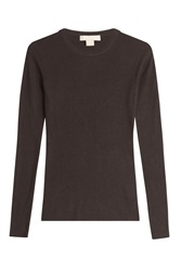 Michael Kors Ribbed Cashmere Pullover Brown