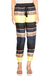 Apiece Apart Marta Sail Pants In Stripes Blue Neon Green