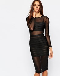 Missguided Bandage Mesh Insert Body Conscious Dress Black