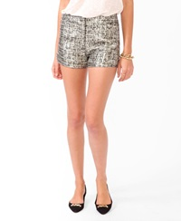 Forever 21 Abstract Metallic Jacquard Shorts Gold Grey