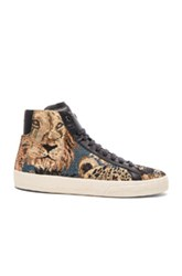 Saint Laurent Court Classic Beast Tapestry Sneakers In Animal Print Brown Blue