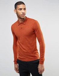 Asos Fitted Fit Knitted Polo In Cotton Rust